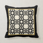 Black Tan Gold Motif Graphic Design XI Throw Pillow