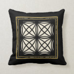 Black Tan Gold Motif Graphic Design XII Throw Pillow