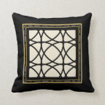 Black Tan Gold Motif Graphic Design XVII Throw Pillow