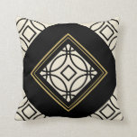Black Tan Gold Motif Graphic Design XVIII Throw Pillow