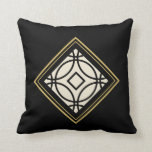 Black Tan Gold Motif Graphic Design XVIIIb Throw Pillow