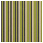[ Thumbnail: Black, Tan & Green Striped Pattern Fabric ]