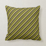 [ Thumbnail: Black, Tan & Green Striped Pattern Throw Pillow ]