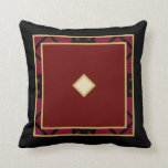 Black Tan Maroon Fabric Textured Design Throw Pillow