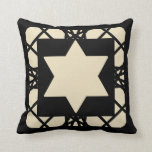 Black Tan Motif Graphic Design II Star of David Throw Pillow