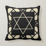 Black Tan Motif Graphic Design Star of David Throw Pillow