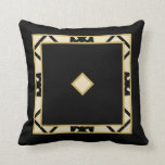 Black Tan Motif Graphic Design VI Throw Pillow
