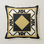 Black Tan Motif Graphic Design VII Throw Pillow