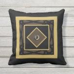 Black Tan Motif Graphic Design VII Throw Pillow