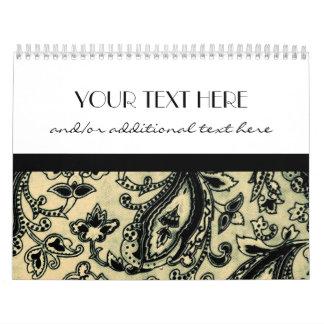 Black & Tan Paisley Calendar