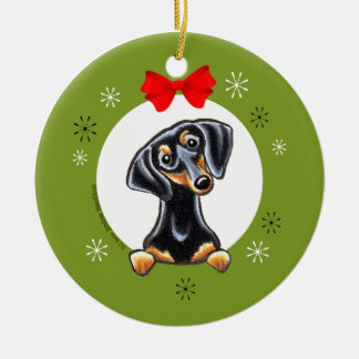Black Tan Smooth Dachshund Christmas Classic Round Ceramic Ornament