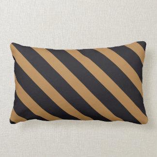 Black & Tan Stripes Lumbar Pillow