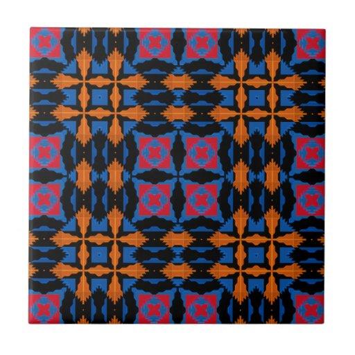 Black, Tangerine, Blue, Red Native American Fabric Ceramic Tiles