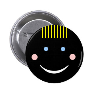 Black Tanned Smiley Face Button