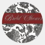 Black Tapestry - Bridal Shower Round Stickers