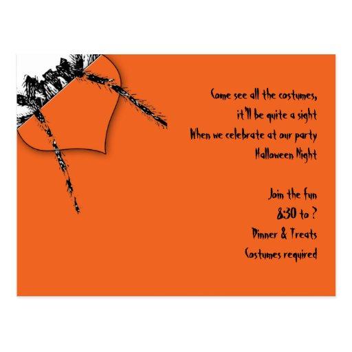 Black Tarantula on Orange Halloween Invite Postcard