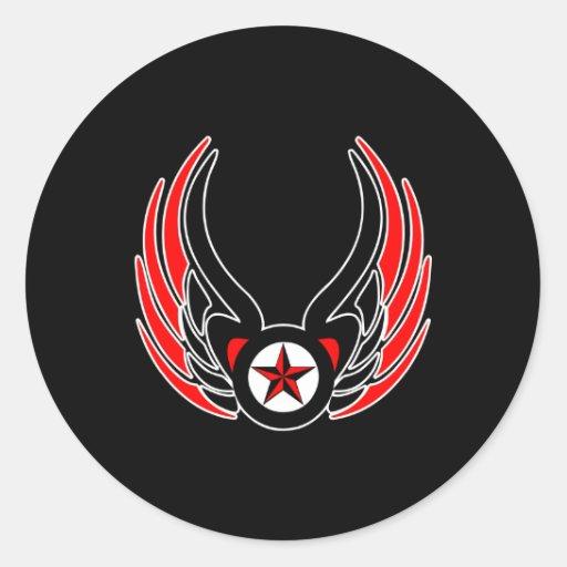 Black Tattoo Wings  Nautical Star Classic Round Sticker