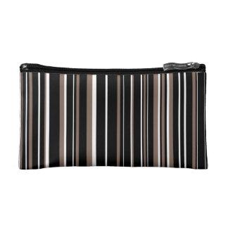 Black, Taupe Brown, White Barcode Stripe Makeup Bag