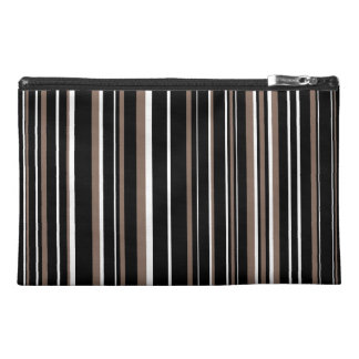 Black, Taupe Brown, White Barcode Stripe Travel Accessory Bag