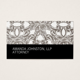 Black Taupe Damask Attorney Business Card