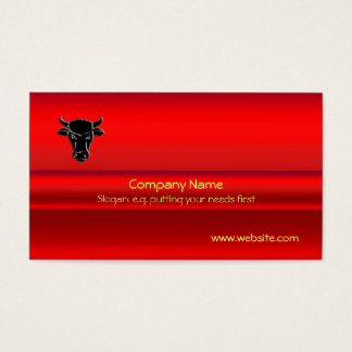 Black Taurus Bull on red chrome-look effect Business Card