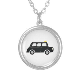 Black Taxi Round Pendant Necklace