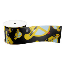 Black taxi pattern satin ribbon