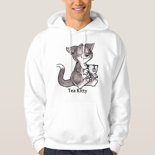 Black Tea Kitty with Text Hoodie