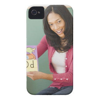 Black teacher showing letter d flash card to iPhone 4 Case-Mate case