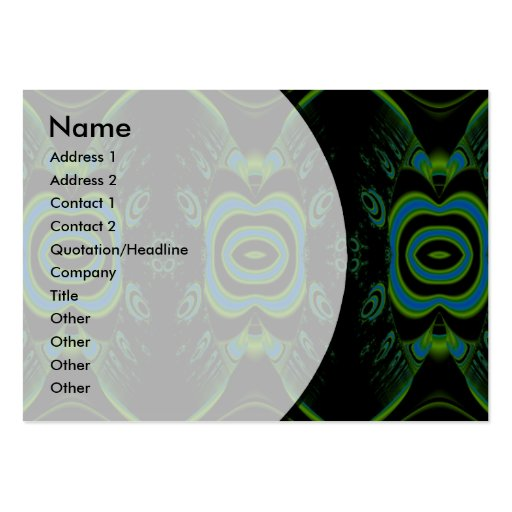 Black, Teal and Emerald Green Floral Design. Large Business Cards (Pack Of 100)