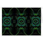 Black, Teal and Emerald Green Floral Design. Stationery Note Card