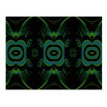 Black, Teal and Emerald Green Floral Design. Postcard