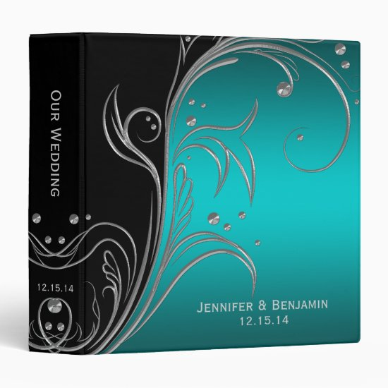 Black Teal and Silver Floral Scrolls Photo Album Binder