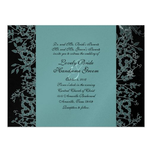 Black, Teal, And Silver Garden Wedding Invitation