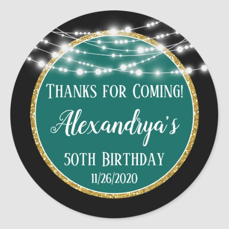 Black Teal Birthday Thanks For Coming Favor Tags