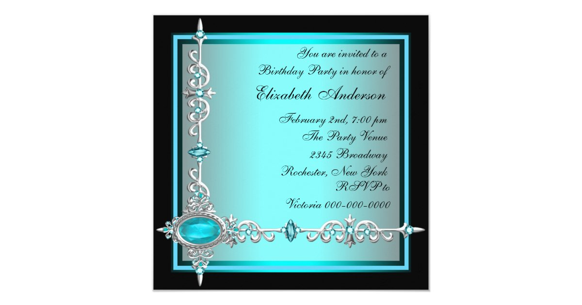 Black Teal Blue Birthday Party Invitations  Zazzle