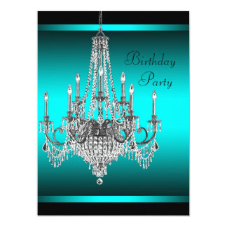 Black Teal Blue Chandelier Birthday Party Personalized Invitations