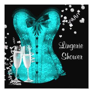 Black Teal Blue Corset Lingerie Bridal Shower Card