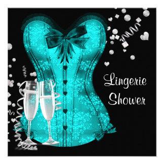 Black Teal Blue Corset Lingerie Bridal Shower Announcements
