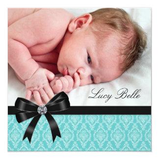 Black Teal Blue Damask Baby Girl Photo Birth 5.25x5.25 Square Paper Invitation Card
