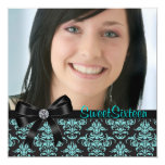 Black Teal Blue Damask Photo Sweet Sixteen Party Invites