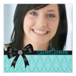 Black Teal Blue Damask Photo Sweet Sixteen Party Personalized Invite