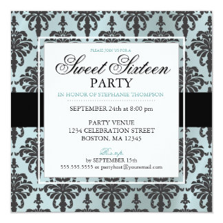 Black Teal Blue Damask Sweet 16 Party Invitations