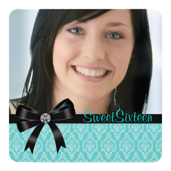 Black Teal Blue Damask Sweet Sixteen Party Card