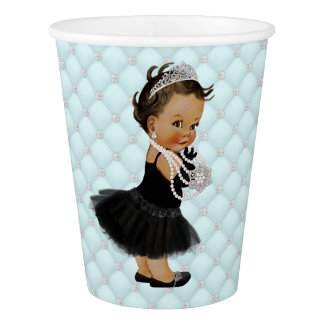 Black Teal Blue Ethnic Breakfast Baby Shower Paper Cup
