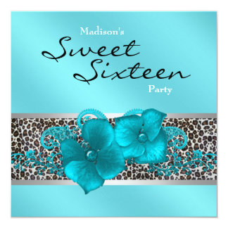 Black Teal Blue Leopard Birthday Party Card