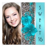 Black Teal Blue Leopard Photo Sweet 16 Birthday Personalized Invite