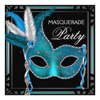 Black Teal Blue Mask Masquerade Party Card