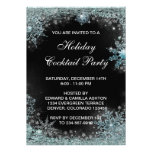 Black Teal Blue Snowflake Christmas Party Personalized Invitation