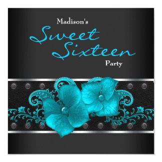 Black Teal Blue Sweet 16 Birthday Party Card